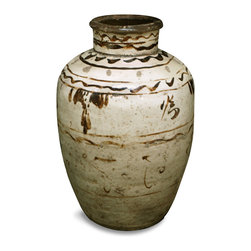 China Furniture and Arts - Antique Ceramic Vase, Calligraphy 2 - This authentic Chinese 19th century vase is estimated to be about 150 years old from Shan-Xi province. Likely used for storage of wine, this pot can now be used as a decorative vase in any setting. Simple in design, it features hand-applied brown glaze decoration and calligraphy. A single, one-of-a-kind piece to add to your collection.
