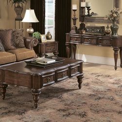 Homelegance - Homelegance Prenzo 3 Piece Coffee Tables Set in Brown - European elegance at its best. Flowing lines, detailed carvings, beautiful veneer treatments and grand scale are some of the many design elements of our Prenzo Collection. The collection is inspired by the grand estates of the Tuscan region of Italy where - 1390-04-3-SET.  Product features: Belongs to Prenzo Collection; Flowing lines; Detailed carvings; Beautiful veneer treatments and grand scale; Casual yet elegant lifestyle is best experienced; Warm brown finish; Cherry veneers and further accented with burnishing and light distressing; Drawers. Product includes: End Table (1); Sofa Table (1); Cocktail Table (1). 3 Piece Coffee Tables Set in Brown belongs to Prenzo Collection by Homelegance.
