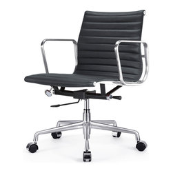 "Meelano - M341 Eames Aluminum Group Style Office Chair in Black Leather - Add a healthy pinch of style to your nine-to-five with this sleek Eames-inspired ergonomic chair. A classic of modern design, it's crafted in rich Italian leather and stainless steel for a minimalist look that's majorly attractive. Its ergonomic features and distinctive ribbed seat make it a ""must"" for your harmonious and healthy office."