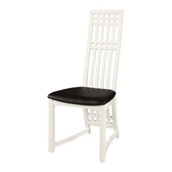 Chintaly Imports - White High Back Lacquer Side Chair (Set of 2) - Chair available in black, gray or white lacquer finish, Curved high back design Birch wood chair legs and back The back of the chair also has an elongated design stylishly descending to the floor. CA fire retardant foam.