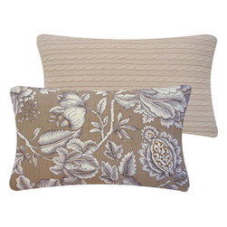 Floral Cable Knit Throw Lumbar Pillow in Brown l Chloe and Olive - Chloe & Olive