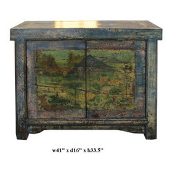 Chinese Crackle Blue Lacquer Finish Scenery Side Table Cabinet - This is a simple side table with nice crackle pattern rustic blue lacquer finish. The doors has the graphic of oriental scenery. It is a pretty accent table for home or business.