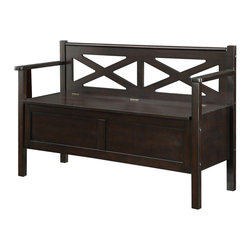 Coaster - Storage Bench, Dark Walnut - Dress up your hallway or entryway with this accent bench. Featuring a decoratively carved X pattern back rest, sturdy arm rests and storage space inside.