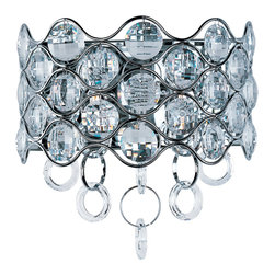 Cirque-Wall Sconce - Chains of faceted crystal rings are linked together by Polished Chrome jewelry bands that cascade from the top and through the fixture. The exterior shade of wave-like metal encases multi-faceted Beveled Crystal jewels, which sparkle from the light of the Xenon lamps included with each fixture.