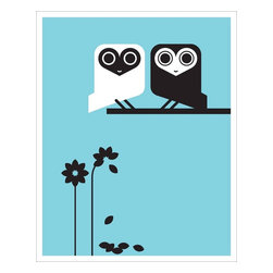 """Hybrid-Home - Limited Edition Print Oma and Olaf Print - Play a game of """"He loves me, he loves me not"""" that always ends up with """"Owl love you forever."""" These black-and-white owls are precious pals that will make your heart hoot with happiness every time you look at this Dora Drimalas-designed print on your wall."""