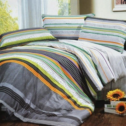 Blancho Bedding - Blancho Bedding -[Tonal Stripe] Luxury 5PC Bed In A Bag Combo 300GSM (Twin Size) - Twin size contains a pillow sham, a fitted sheet, a duvet cover, a comforter and a pillow. Twin size comforter measures 67 by 87 inches with 40 oz hypo-allergenic breathable filling. This combo combines a duvet cover set, a down-alternative comforter and two pillows(one for Twin). Shrinkproof, anti-pilling and fading proof processes; 14 inches pocket size of the fitted sheet. Environment-friendly dyes; Fine and concentrated stitches; Machine washable and dryable.