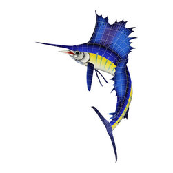 """Glass Tile Oasis - Sailfish Left Pool Accents Blue Pool Glossy Ceramic - Sheet size:  60"""" x 42""""   Tile thickness:  1/4""""   Sheet Mount:  Mesh Backed   Sold by the piece   -"""