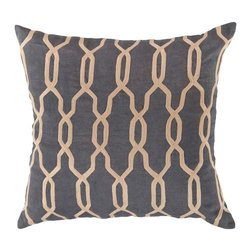 "Surya COM001-1818P 100% Linen 18"" x 18"" Decorative Pillow - With a lovely trellis pattern, this pillow is on trend. Colors of mediterranean blue and parchment accent this decorative pillow. This pillow contains a poly fill and a zipper closure. Add this 18"" x 18"" pillow to your collection today. Filler: Poly Fiber. Shape: Square"