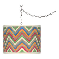 Giclee Gallery - Swag Style Canyon Waves Shade Plug-In Chandelier - Evoking the folk art of the American Southwest, the Swag Style Canyon Waves Shade Plug-In Chandelier brings rustic charm to any room. Add instant style and glamour with this swag chandelier. Plug the light into any standard wall outlet, then hang the cord on included the swag hooks. Drape the cord as desired. The lamp features a brushed silver finish spider fitting and a silver cord. In-line on-off switch controls the lights. Includes swag hooks and mounting hardware. U.S. Patent # 7,347,593.