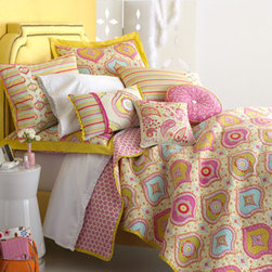 "Dena Home - Dena Home Quilted Zarina European Sham - Bold patterns, vivid colors, quilting, and embroidery—""Zarina"" bed linens have it all! From Dena Home. Imported. Made of cotton. Pillows have a polyester fill. Machine wash quilts and shams. Spot clean pillows. To see the photo with each..."