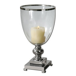 Carolyn Kinder - Carolyn Kinder Lino Candlestick / Candle Holder X-81791 - Nickel plated, metal base and accents with clear glass globe and distressed beige candle.