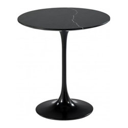 Fine Mod Imports - Fine Mod Imports Flower End Side Table with Black Marble Top in Black - The Flower table has a black Marble top in Its base is a heavy molded cast aluminum in while the shell is in reinforced molded fiberglass base