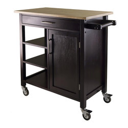 "Winsome - Mali Kitchen Cart, Dark Espresso/Natural Finish - Mali Kitchen Cart, Dark Espresso/Natural Finish; Mali Two-Tone Kitchen Cart features natural wood top with dimensions 33""W x 18.5""D and espresso body with one large drawer, 3 shelves and cabinet with one removable shelf; Drawer inside dimensions is 24.80""W x 13.31""D x 2""H; 3-Open shelf sizes 12.83""W x 15.75""D; Cabinet opening 13.39""W x 14.72""D x 22.44""H, Door Opening 13.22""W; Shelf inside cabinet is removable and fixed one position; Made of combination of solid and composite wood in Natural and Espresso Finish; Assembly Required"