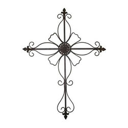 "Gardman USA - Large Cross Wall Art - Large Cross Wall Art - Measures: 34"" long x 26"" wide.   Durable  antiqued dark brown and rust multi-hued finish.    Beautiful addition to your home or garden wall.   Welded solid square steel construction.   Easily mount to any flat surface indoors or out.  This item cannot be shipped to APO/FPO addresses. Please accept our apologies."