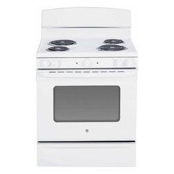 "GE - JBS45DFWW 30"" 5.0 cu. ft. Oven Capacity Free-Standing Electric Range  Upfront Co - A GE electric range will meet all your cooking needs for years to come from warming a simple pan of soup for one person to handling a large dinner party or holiday meal for the whole family Plus your stove will look great in your kitchen and clean up..."