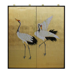 China Furniture and Arts - Gold Leaf Hand-Painted Cranes - Simple and elegant, this picture of two cranes adopted from Japanese art symbolizes longevity and prosperity. Hand painted on gold leaf covered wood with black boarders that round out its quite beauty. Matching brass hangers are included. (2pcs/set)
