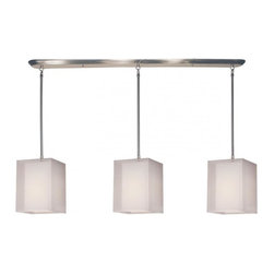 Three Light Brushed Nickel Organza White Shade Island Light - This contemporary fixture uses three rectangular, white outer organza shades to allow a glimpse of the inner opaque shades, which emanate a soft glow. The hardware is finished in brushed nickel and includes telescoping rods to ensure a perfect hanging height. This fixture would be perfect for any contemporary space.