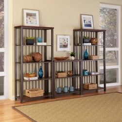 Home Styles Cabin Creek 3-Piece Multi-Function Shelving Unit - Chestnut - Display books or treasures in exquisite style with the Home Styles Cabin Creek 3-Piece Multi-Function Shelving Unit - Chestnut. A multi-step distressing process yields an authentic reclaimed wood feel in this trio featuring hardwood solids and veneers. A metal frame provides rugged durability and features a hammered-look finish. Each piece is physically distressed by hand to produce a warm chestnut finish featuring fly specking, small indentations, season splitting, and worm holes, so you can enjoy an age-old antique look. You'll receive two 5-tier units and one 3-tier shelving unit. These pieces work well as a group but can also split up to handle storage duty in the bedroom, kitchen, office, living room, bathroom, garage, entryway, and more. You'll enjoy a total of 13 fixed shelves which are 16 inches deep to safely showcase larger treasures. Assembly required.About Home StylesHome Styles is a manufacturer and distributor of RTA (ready to assemble) furniture perfectly suited to today's lifestyles. Blending attractive design with modern functionality, their furniture collections span many styles, from timeless traditional to cutting-edge contemporary. The great difference between Home Styles and many other RTA furniture manufacturers is that Home Styles' pieces feature hardwood construction and quality hardware that stand up to years of use. When shopping for convenient, durable items for the home, look to Home Styles. You'll appreciate the value.