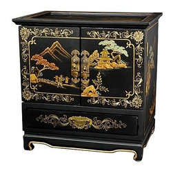 Oriental Unlimted - 5-Drawer Empress Jewelry Box w Compartments - 5 Drawers. Compartments are felt lined. Black with landscape design. Doors open to reveal 4 felt lined drawers. Brass hardware is clear lacquered to resist tarnish. No assembly required. 16 in. W x 11.5 in. D x 16 in. H