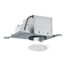 Juno Lighting Group - 6-inch Recessed Lighting Kit with Frosted Shower Trim - IC2/242-WH - This recessed lighting kit comes complete with air tight, double-wall construction housing and a frosted lens with clear center interior. The housing can be completely covered with insulation and vertically adjusts to accommodate up to a 1-inch ceiling thickness. The bar hangers may be re-positioned 90 degrees. The lens is wet location rated for showers and is frosted with a clear center. Takes (1) 75-watt halogen PAR38 bulb(s). Bulb(s) sold separately. Wet location rated.