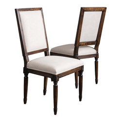 Great Deal Furniture - Martin Weathered Beige Linen Fabric Dining Chairs (Set of 2) - The Martin Weathered Oak Dining Chairs are a perfect addition to any room in your home. These chairs not only embellish any dining set, but they also double as a stand alone set for any parlor or living room. The floral design fabric paired with the weathered oak creates blending of style that adds an exciting touch to your interior space.