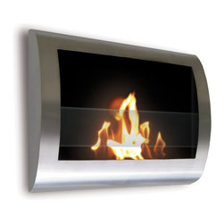 Anywhere Fireplace - Chelsea Indoor Wall Mount Fireplace - This wall mount, gracefully curved Chelsea model of the Anywhere Fireplace has sleek contemporary design that will make a statement in any room. It works with any decor. The dancing flames you will have will create a warm, mellow, luxurious atmosphere. It will create a focal point of distinction in your living room, bedroom, family room, dining room anywhere you wish to enjoy a fire. Easy to install on the wall and all mounting hardware is included. USES Bio-ethanal LIQUID FUEL for fireplaces.