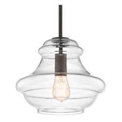 Kichler - Everly 42044 Pendant by Kichler - Taking inspiration from blown-glass containers, the Kichler Everly 42044 Pendant features a generous Clear glass shade. The delicately extruded glass creates a pretty outline around the singular stem. An exposed socket highlights a twinkling light and is particularly suited to a vintage style Edison bulb. Since 1938, Cleveland-based Kichler Lighting has created exceptional lighting in a variety of styles, finishes, colors and designs. With a diverse collection of indoor and outdoor lighting in classic and contemporary styles, Kichler Lighting always focuses on making home lighting that is both beautiful and functional.