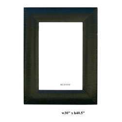 Chinese Silk Black Lacquer Rectangular Mirror - This mirror has a fabric black lacquer wrap around as the frame. It is a modern and simple piece.