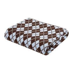 Elegant Baby - On Sale Chocolate & Blue Argyle Knit Blanket - Chocolate & Blue Argyle Knit Blanket