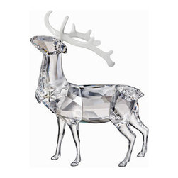 Swarovski - Swarovski Christmas Stag - Swarovski Crystal Christmas Stag  -  Size: 4.1 inches wide x 5.8 inches tall  -  A sophisticated and contemporary interpretation of a traditional Christmas symbol. Shining in clear crystal, this magnificent stag features white lacquered metal horns and a necklace decorated with Crystal Moonlight. Let it add sparkle to your home all year round.  -  Fine Silver Crystal  -  Made In Austria