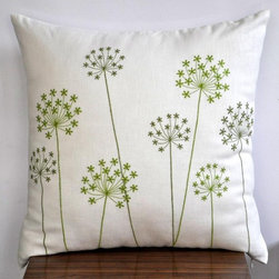 Queen Ann Throw Pillow Cover By KainKain - Queen Anne's Lace is nature's mini firework display. This subtle floral would feel right at home in a mostly neutral, subdued room.