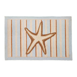 Homefires - Starfish With Stripes-Blue Rug - Whether your home is near the shore or you're just looking to bring a little beach into your urban home, this rug will be a perfect fit for you.  Enjoy a taste of the ocean with no sunscreen required.