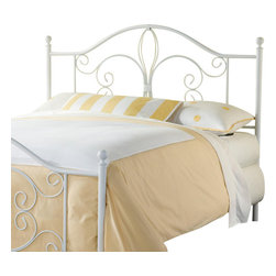 Hillsdale Furniture - Hillsdale Ruby Metal Headboard with Rails in Textured White - Full / Queen - Feminine with an air of lightness and whimsy, the Ruby bed take its inspiration from its elegant fleur di lis-adorned headboard and footboard. Finished in a delicate textured white, the Ruby is available in full, queen and king sizes. Some assembly required.