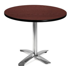 "OFM - OFM 36"" Round Folding Table in Mahogany - OFM - Folding Tables - KFT36RDMHGY - This 36"" round table looks elegant in both lunch and meeting rooms and looks great with the model 310 stack chairs. The banding makes the edges smooth and gives it a finished appearance. The honeycomb core makes the table both lightweight and sturdy."