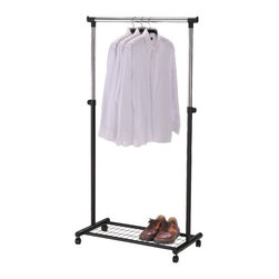 None - Black Rolling Garment Trolley - This spacious garment trolley will give you added space to store your clothes,accessories,shoes and more. With a generous rack and ample shelf space,this versatile garment rack features four wheels for easy mobility.