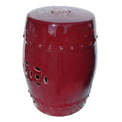 "n/a - 18"" H Oriental Oxblood Glazed Porcelain Garden Stool - This attractive porcelain Garden Stool, 18"" high is inspired by traditional Oriental design and features a deep red oxblood glaze, considered the most difficult glaze to use. Imported by us from an award winning potter in southern China, this handmade object can serve as both a seat and side table. Add an elegant design statement to your entry way, pool-side, or living room with this rich object of art."