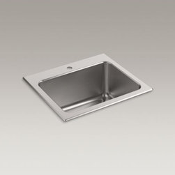 """KOHLER - KOHLER Ballad(TM) 25"""" x 22"""" x 11-5/8"""" top-mount utility sink with single faucet - With a deep 11-5/8-inch basin, this Ballad stainless-steel utility sink is an ideal multifunctional workstation for your kitchen, bar, or laundry area. An engineered sound-absorption system significantly reduces disposal and dishwashing noise, as well as condensation underneath the sink in high-humidity environments."""