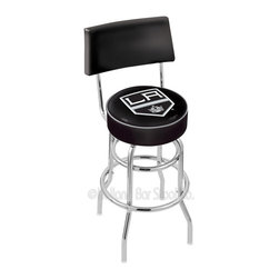"Holland Bar Stool - Holland Bar Stool L7C4 - Chrome Double Ring Los Angeles Kings Swivel Bar Stool - L7C4 - Chrome Double Ring Los Angeles Kings Swivel Bar Stool w/ Back belongs to NHL Collection by Holland Bar Stool Made for the ultimate sports fan, impress your buddies with this knockout from Holland Bar Stool. This retro L7C4 logo stool has a 4"" cushion with a tough double-ring base with a chrome finish and a cushioned back to achieve maximum comfort and support. Holland Bar Stool uses a detailed screen print process that applies specially formulated epoxy-vinyl ink in numerous stages to produce a sharp, crisp, clear image of your team's emblem. You can't find a higher quality logo stool on the market. The structure is triple chrome-plated to ensure a rich, polished finish that will last ages. Barstool (1)"