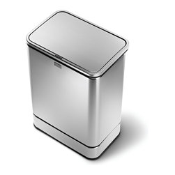 simplehuman - 40 Litre Rectangular Sensor Can - No more fumbling or spills! This touch-free trash can opens automatically with a wave of your hand. Multi-sense technology adapts to your behavior, so it won't open by mistake or close before you're finished. The space-saving design sits flush against the wall for maximum efficiency.