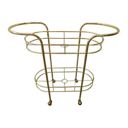 Vintage Brass & Glass Oval Bar Cart - $597 Est. Retail - $300 on Chairish.com -