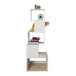 Designer Pet Products - The Sebastian Modern Cat Tree, White - Like a giant Lego sculpture this modern modular cat tree adds a little zip to your feline furnishings. Your kitty will have fun climbing, scratching and perching atop the structure and you'll have an easy time assembling your pet purchase. Choose from black or white and satisfy your cat's natural instincts with flare.