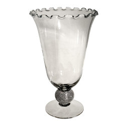 "Alan Lee Collection - Princess Collection 7.5""X12"" Glass Vase - A tall glass vase with a ruffled edge. Hand applied cut crystals form a ball near the base of the Vase. Beautiful and Classic."