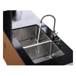 Kraus - 33 in. 60/40 Double Bowl Kitchen Sink with Faucet and Soap Dispenser - Add an elegant touch to your kitchen with unique Kraus kitchen combo
