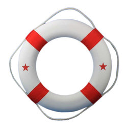 "Handcrafted Model Ships - Red and White Lifering 30"" Life Ring Decor Nautical Decor Beach Living - New - The Red and White Lifering 30"" decorative lifering is the perfect nautical accent to add to your home, office, or pool area. Red canvas straps accent the white lifering displaying red patriotic and nautical stars, and will make guests and family feel at home and comfortable. Lightweight styrofoam construction makes the large 30"" lifering easy to hang anywhere so you can bring that nautical ocean feel into the comfort of your own home, office, nautical clubhouse, or poolhouse."