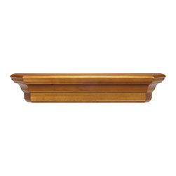 "Pearl Mantel - The Lindon Fireplace Surround, Oak, 36"" - This surround shelf will go to great lengths to support your collectibles. Because it's designed with simple lines and a rich wood finish, it can work in any room — accommodating dish displays in the dining room, photos above the fireplace, beloved antiques in the bedroom. You choose."