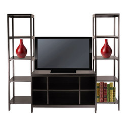 Winsome - Hailey 3pc TV Stand Shelf Set - Create a entertainment center with this 3pc modular TV stand and Shelf set. Set comes with one TV Stand and two tower shelves. Made of solid and composite wood in dark espresso finish. TV Stand size 40 in. L x 18.98 in. W x 24.02 in. H. Tower Shelf 15.04 in. L x 15.04 in. W x 60.43 in. H. Assembly Required