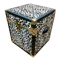 "HQ Trunk. - End Table - Leopard Animal Skin - Leopard animal skin End table. Dimensions: 16""x16""x16"" It creates the focal point of any room. It looks and feels like the real thing. Interior covered with red vinyl, creating a nice color contrast. Tacked vulcanized fiber binding. Heavy duty hardware in polished nickel finish. Two black leather handles."