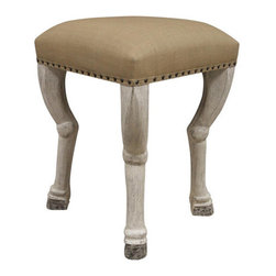 Noir - Clara Counter Stool - Crafted the old-fashioned way, Noir products emphasize a natural yet unique aesthetic that is sure to add a touch of old-world charm to any décor. Noir's notable collection of home furnishings has a timeless feel with a contemporary flare. All finishes are hand applied using high quality lumbers from well-known suppliers giving them a one-of-a-kind appeal. Creatively carved claw feet in white weathered mahogany support the linen upholstered seat with a contemporary feel. Nailhead trim gives a rustic look to compliment the organic undertones. Modern yet antique, this stool can fit into a variety of home decors. Features: -White weathered finish. -Solid mahogany wood construction. -Linen cotton fabric. -Distressed finish.
