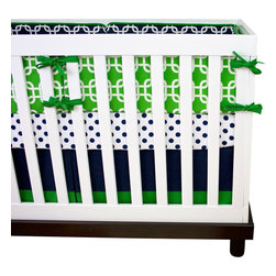 "Modified Tot - Baby Bedding Crib Set, Alligator - For your preppy little man, featuring navy blue and kelly green chain link and polka dots. The three piece set includes bumpers with hand-stitched fabric ties and contrasting piping, a fitted sheet with elastic all the way around and a four-sided skirt with a 15"" drop. Bumpers are created in six separate pieces for easy transition to a toddler bed, they measure 1"" thick and 10"" high. All items are proudly made in the USA. All products are made to order."