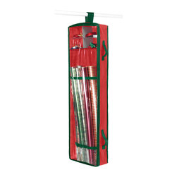 Whitmor - Hanging Wrapping Paper Organizer - This Holiday Gift Wrap Organizer gives you plenty of organized space for your wrapping paper and accessories. Features outside handles for easy maneuvering. Its slim design makes it perfect to either hang it in the closet or to store under bed.